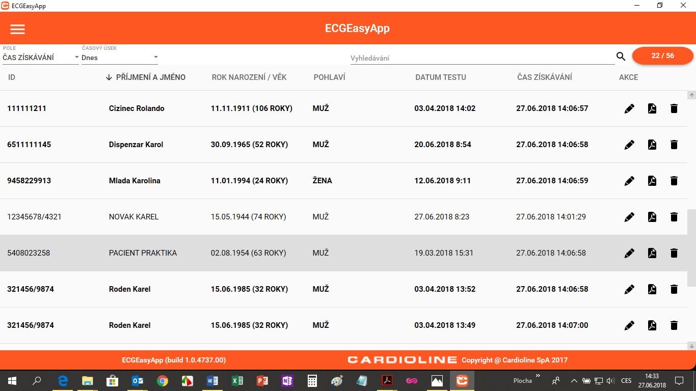 Archiv EKG - aplikace ECGEasyApp